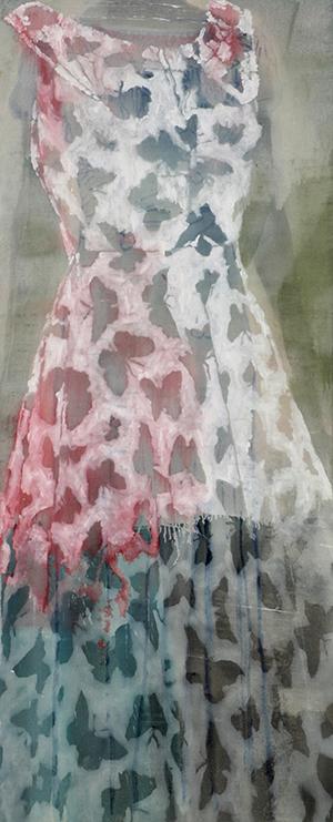 """""""Kleid mit Schmetterlingen"""", Acryl auf Leinwand, 209 x 86 cm (2005)"""